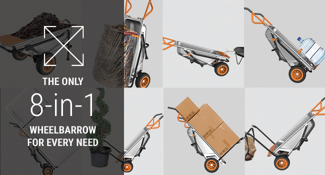 Wheelbarrow, dolly, handcart, powershare 8-in-1, wheelbarrow for every need