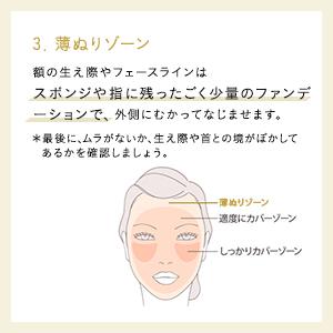「薄塗りゾーン」の説明文、女性の顔のイラスト