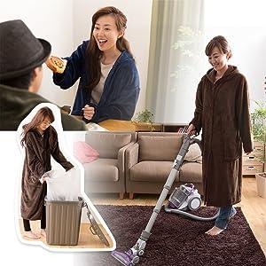 家事の時も、掃除の時も、動きやすいちょうどいいサイズ感。床にひきずることもありません