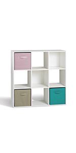 Compo 9 Casiers Meuble de Rangement Etagères Cubes Blanc