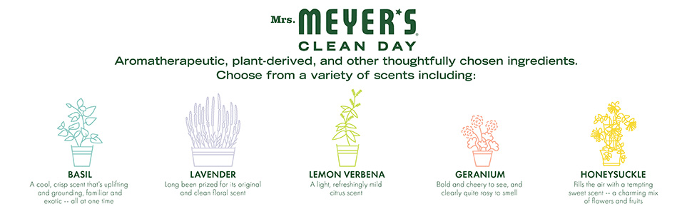 Mrs. Meyer's Clean Day Aromatherapeutic, plant-derived, and other thoughtfully chosen ingredients.