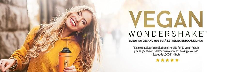 Vegan Wondershake | Batido Proteico Vegano | Super Suave, Gran Sabor | THE PROTEIN WORKS | Plátano Suave | 30 Servicios