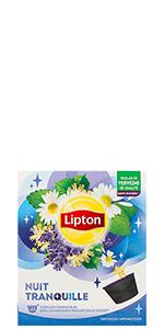 Lipton Infusion Nuit Tranquille 10 capsules, tilleul, lavande, camomille, tisane, verveine, infusé