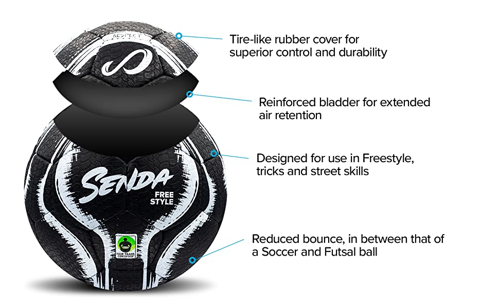 and Skills Soccer Ball with Rubber Outer Cover, Trick Senda Street Freestyle