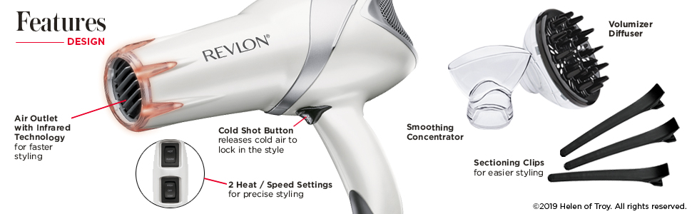lightweight, fast dry, infrared, damage control, hair dryer, hair dryers, RVDR5264