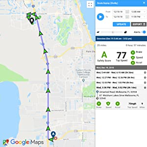 MOTOsafety GPS Tracker for Teens Route Replay