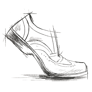 pencil sketch, men's shoe, walking