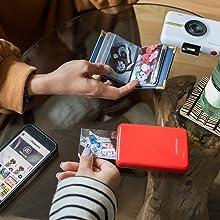 red zip white snap with Polaroid mobile photo app