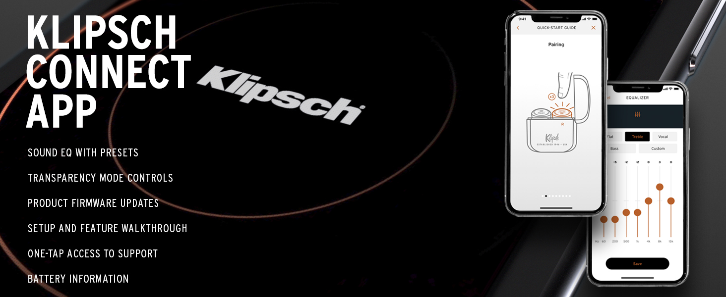 Klipsch Connect App, Google, Apple, iOS, wireless earbuds, wireless earphones