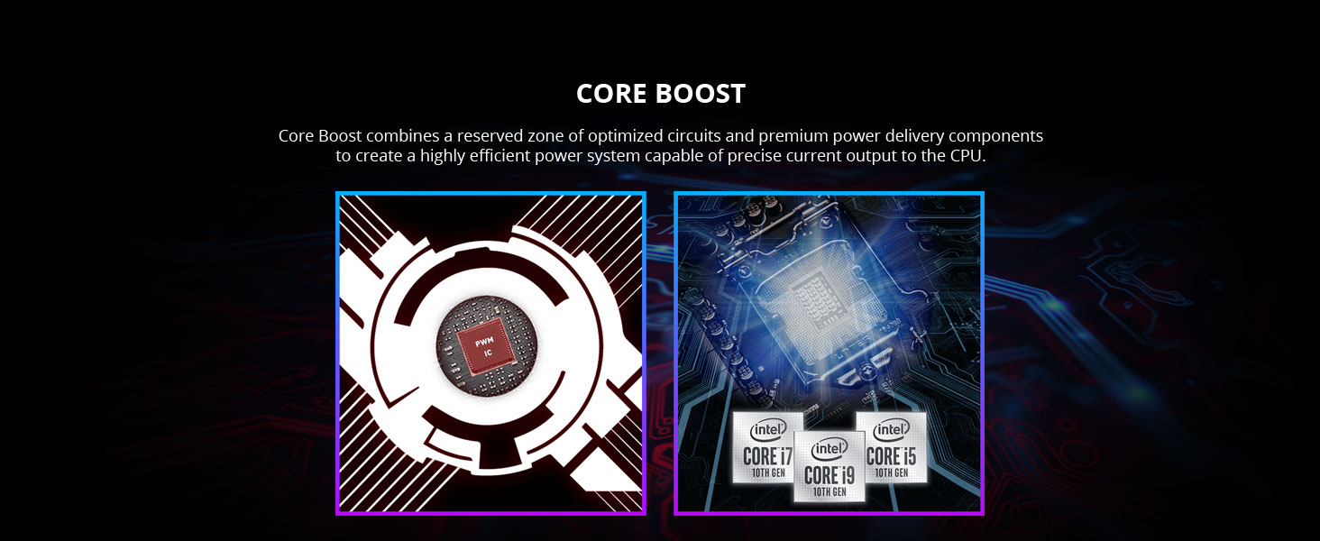msi, mpg z490 gaming plus, core boost, vrm, phases, doublers, pwm, power design circuits