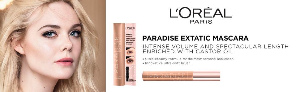 Paradise;Mascara;Black;Castor Oil;soft;volume;length;extatic;voluminous;soft brush;L'Oreal Paris
