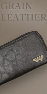 グレイン合皮 Wメタル R-ZIP 長財布