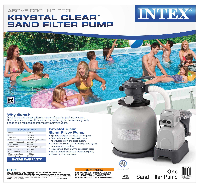 Amazon Com Intex 28651eg 3000 Gph Sand Filter Pump With