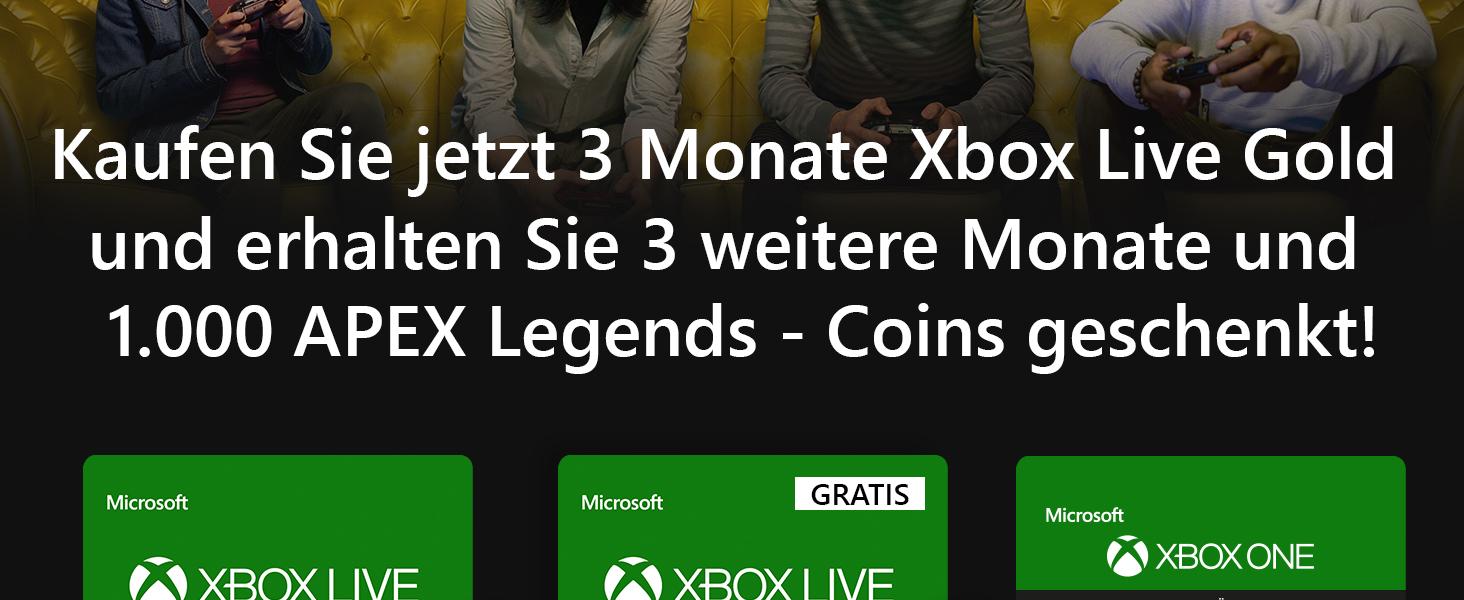 Xbox Live Gold Mitgliedschaft 6 Monate Apex Legends 1000