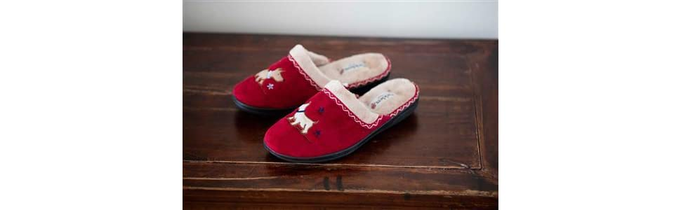 Padders SCOTTY Womens Ladies Extra Wide EE Fitting Christmas Mule Slippers Red