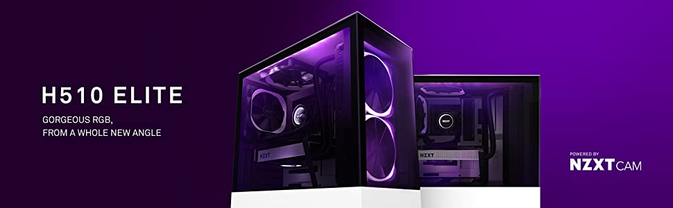 Amazon Com Nzxt H510 Elite Ca H510e W1 Premium Mid Tower Atx Case Pc Gaming Case Dual Tempered Glass Panel Front I O Usb Type C Port Vertical Gpu Mount Integrated Rgb Lighting