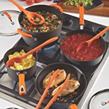 silicone handles pots and pans set rachael ray