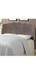 upholstered headboard, headboard, pulaski, home meridian, upholstered, shimmer, velvet