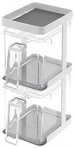 山崎実業 お手入れ簡単 省スペース 調味料ラック 調味料入れ 調味料ストッカー 2個 & ラック3段セット スリム タワー ホワイト 3652