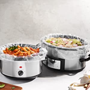 Food cooks in a slow cooker with a Pansaver Slow Cooker Liner.