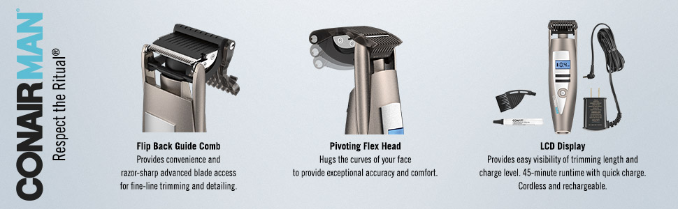 ConairMAN i-Stubble, Flip Back Guide Comb. Pivoting Flex Head Trimmer, LCD Display, Men's Trimmer
