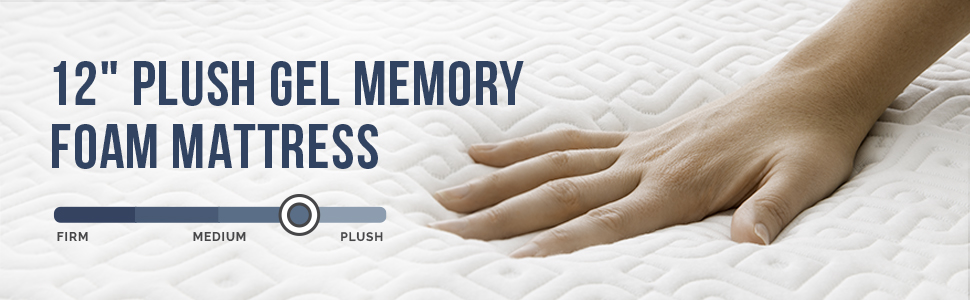 "12"" Plush Gel Memory Foam Mattress"