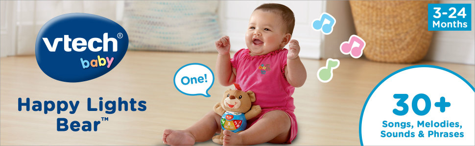 vtech baby; happy lights bear; 30+ songs, melodies amp; phrases; 3-24 months