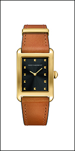 Rebecca Minkoff, strap, leather, brown leather, brown,gold plated. black dial,watch, minkoff