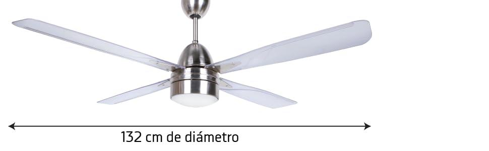 Orbegozo CP71132 Ventilador de Techo con luz y Mando a Distancia, 4 Palas, 132 cm de diámetro, Potencia 90 W y 3 velocidades, Acero Inoxidable: Amazon.es: Hogar