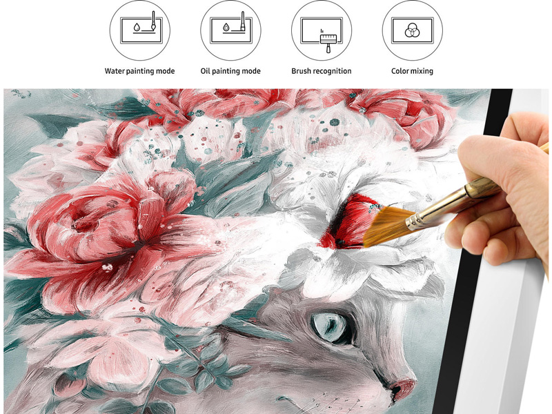 Digital Painting being created with Samsung Flip's brush mode