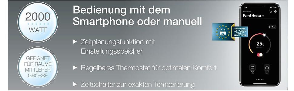 Princess 01.342000.01.001 2.000 Watt Smarte Fl/ächenheizung App gesteuert Schwarz