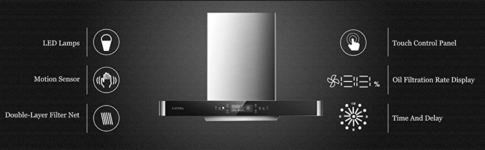 Stainless Steel and Black Tempered Glass T-Shaped Touch + Motion Sensor Control 670-CFM Wall Mount Kitchen Range Hood LED Display Panel CATUSA 36 Inch Range Hood 3 Speed Exhaust Fan