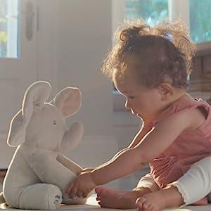 little girl baby playing flappy peek a boo peekaboo plush stuffed animal elephant gund