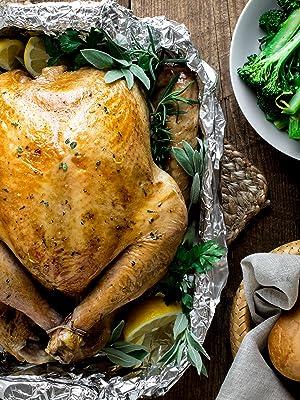 Foil wrapped turkey