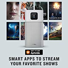 Portable projector GV1 is embedded with smart TV app for movie-watching and gaming enjoyment