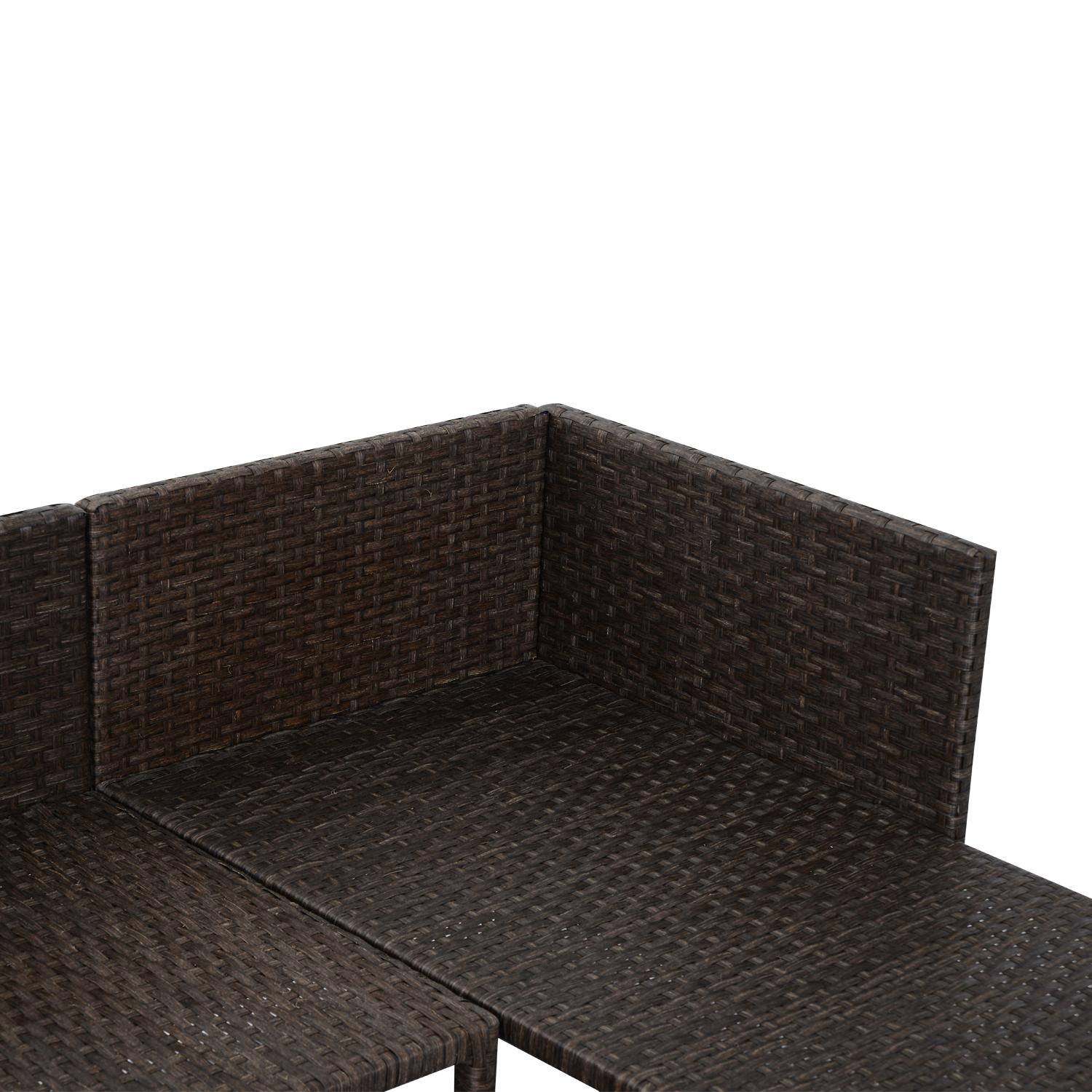 Outsunny 3 piece outdoor rattan wicker sofa for Belmont 4 piece brown wicker patio chaise lounge set
