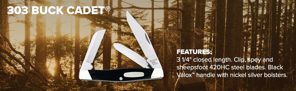 Buck Knives 303 Cadet Features 420HC Steel Blades Clip Spey Sheepsfoot Valox Handle Nickel Silver