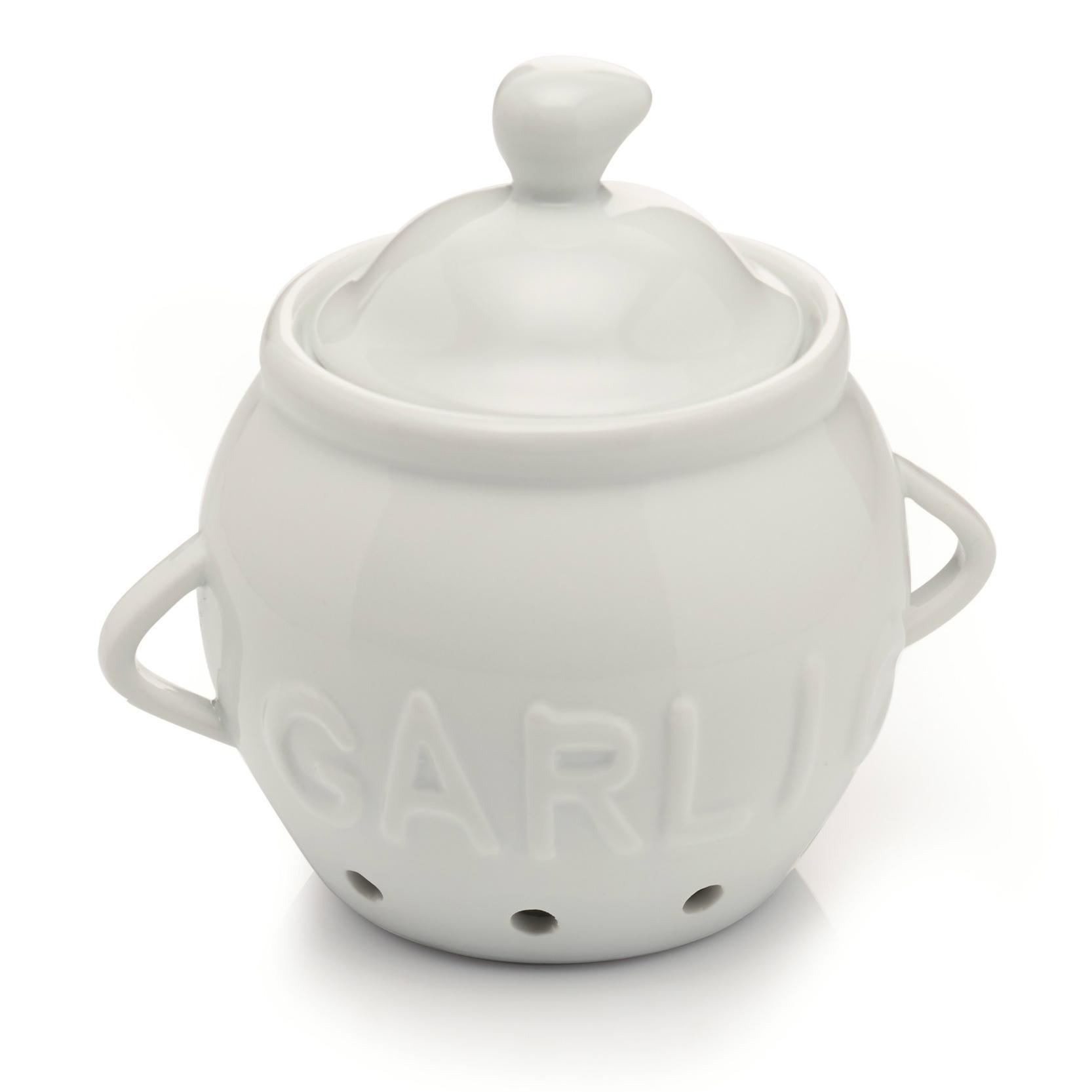 Round Off White Ceramic Garlic Holder Storer Storage Canister Jar Pot Kitchen