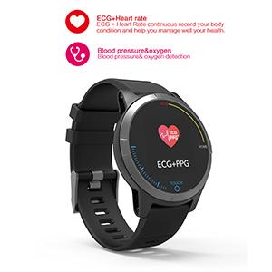 PRIXTON – Reloj Inteligente Smartwatch para Android e iOS con Electrocardiograma, Presión en Sangre, Pulsometro, Resistente a Salpicaduras, Pulsera de ...