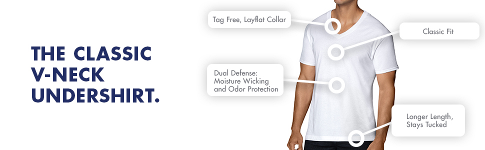 5d9ae9d5b62 Amazon.com  Fruit of the Loom Men s Stay Tucked V-Neck T-Shirt  Clothing