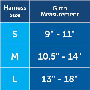 harness size chart cat