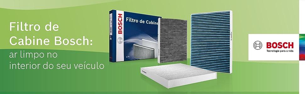 Imagem com filtros de cabine ao lado da sua respectiva embalagem. Fundo verde e logotipo da Bosch.