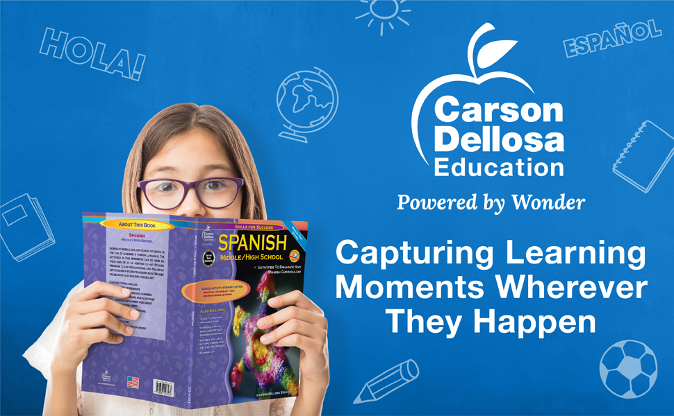 Middle school girl holding a book in front of her face with the Carson Dellosa slogan