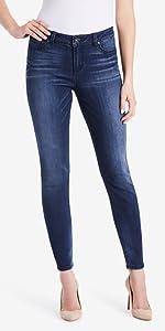 vintage amercia blues jeans; jeans for women; women's jeans; boho skinny leg stretch denim jeans