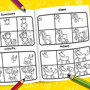 How to Draw 101 Horses and Unicorns spread on yellow background with colorful pencils.