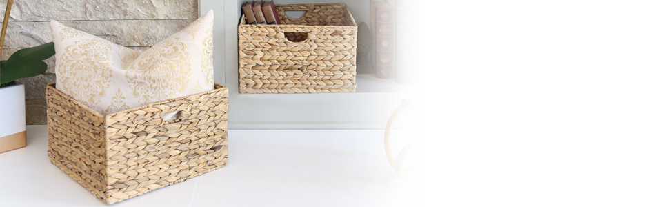 sevilleclassics hyacinth water reed seagrass wicker woven basket box container folding with handle