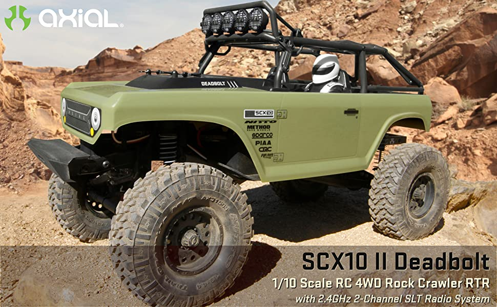Axial SCX10 II 1/10 Deadbolt RC rock crawler comes with a 2.4GHz 3-channel radio system