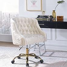 Vintage Cream Velvet & Gold Office Chair