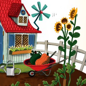 A wheelbarrow and garden from the picture book Grandude's Green Submarine by Paul McCartney