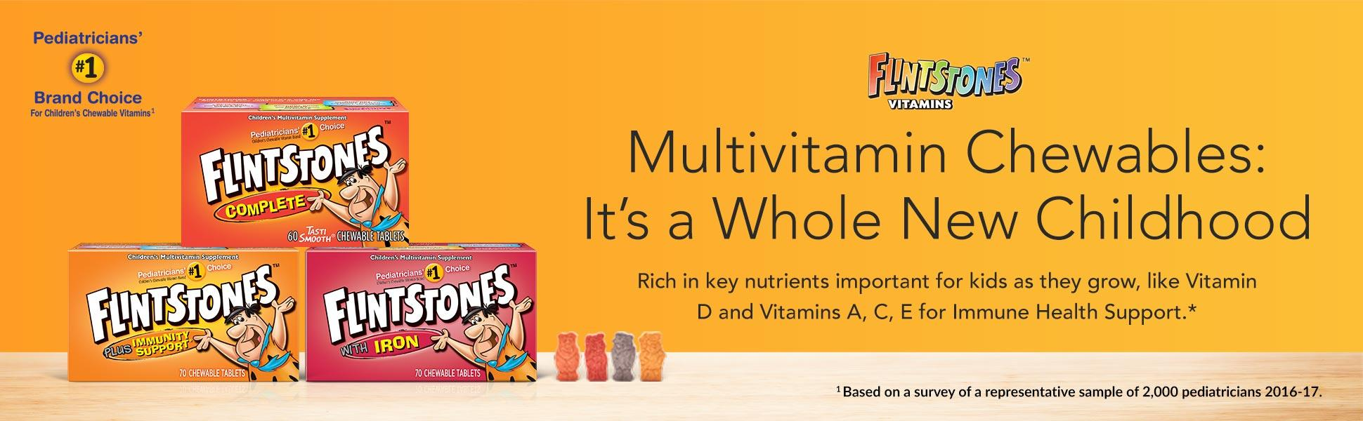 Flintstones make vitamins fun with great-tasting, fruit-flavored tablets in  character shapes.